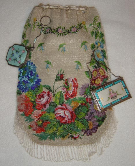 Beaded Bag w/Compacts