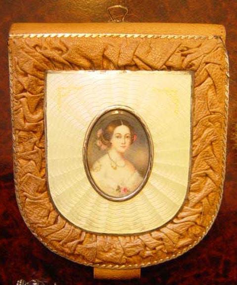 Guilloche Enamel Portrait Purse