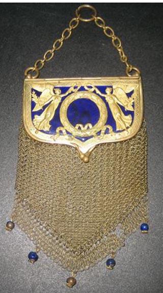Blue Enamel on Gold Mesh