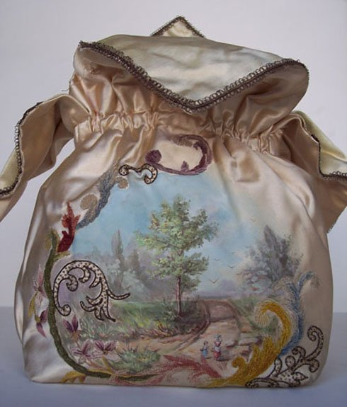 French Satin Purse with Handpainted Scene