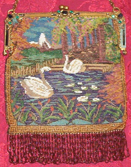Beaded Swans with Jeweled Frame