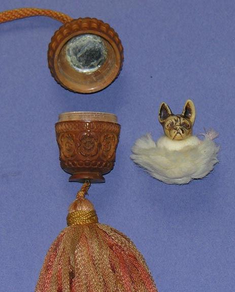 Celluloid Figural Puff with Vanity Purse