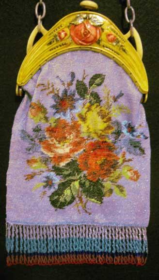 Floral Beaded on Celluloid Frame
