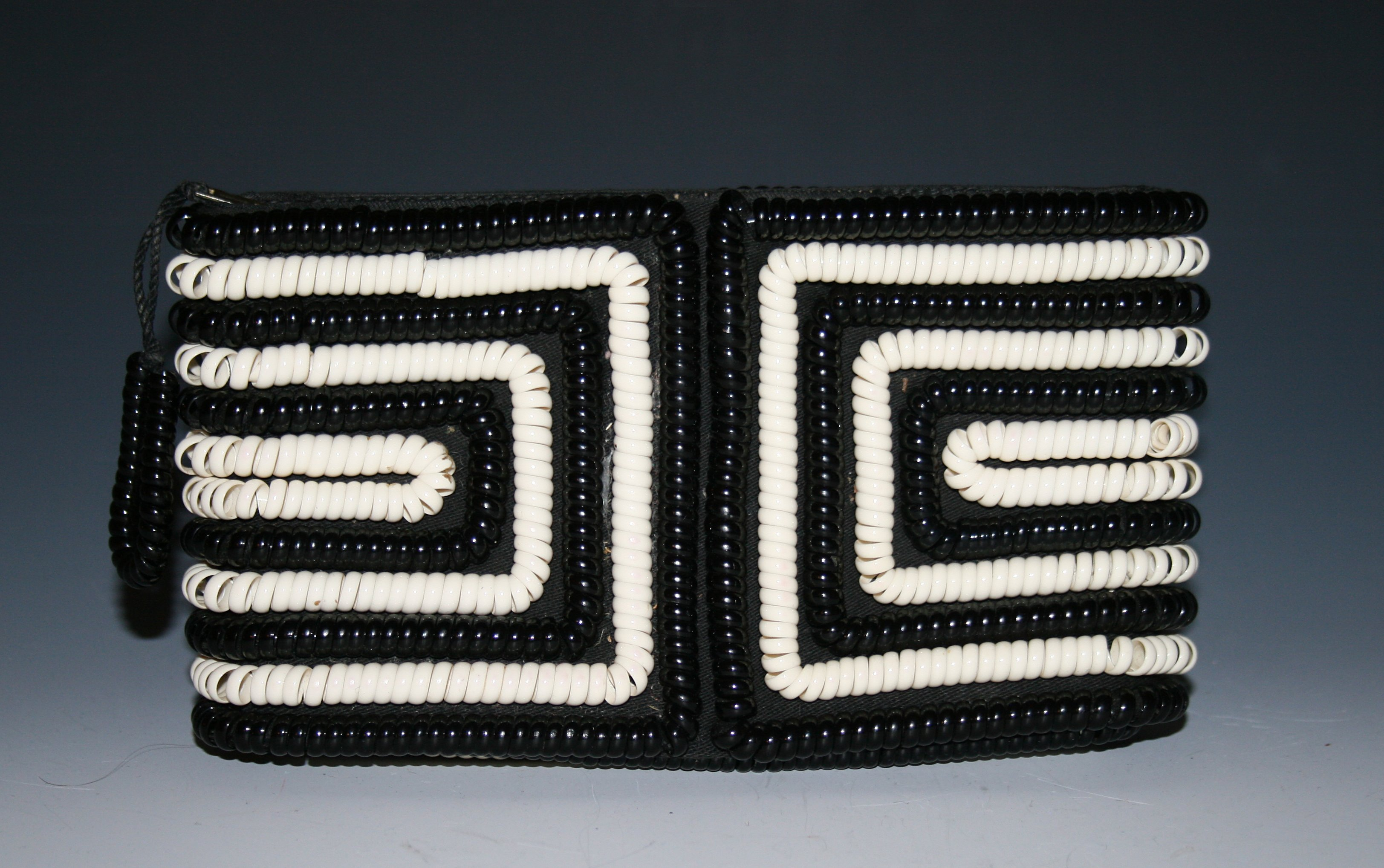 Black and white Plastic Coil purse