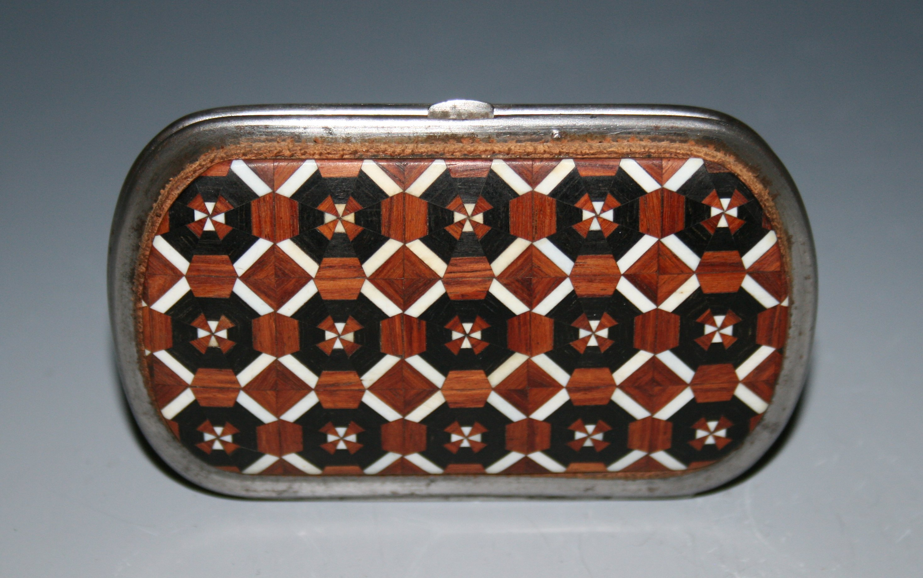 Wood marquetry purse