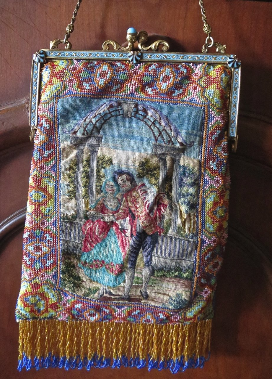 Beaded and petit point purse