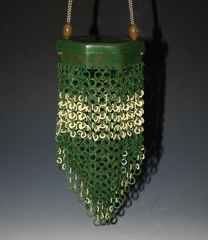 Green celluloid purse