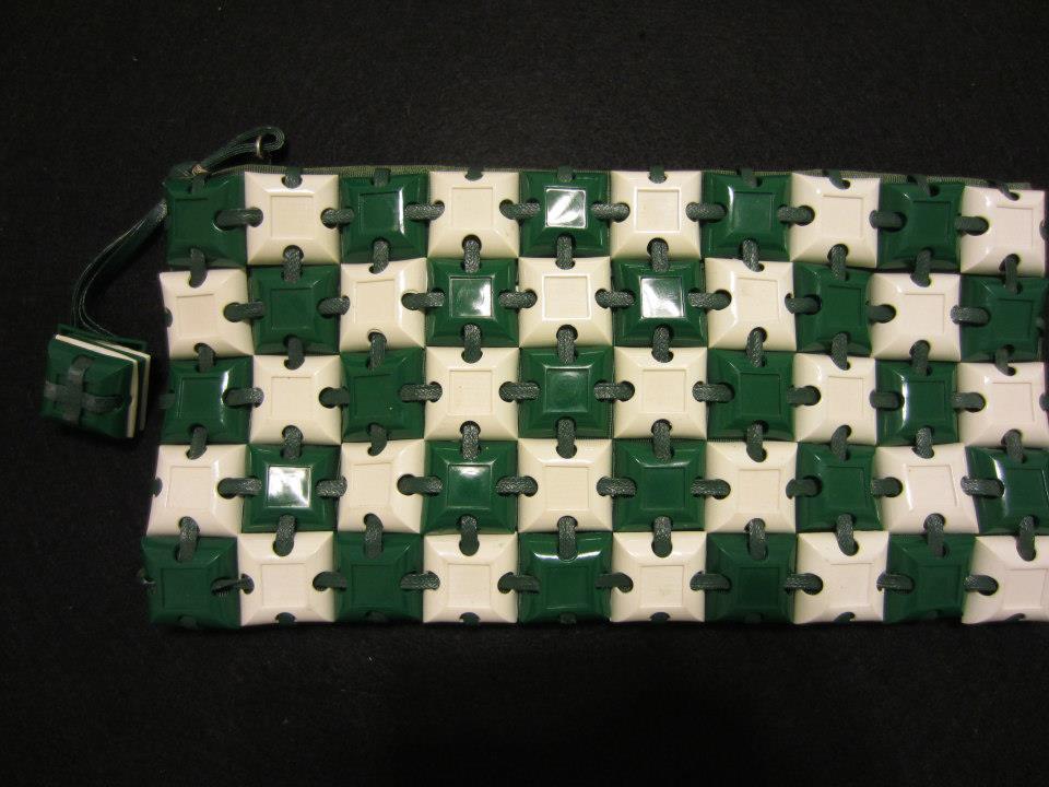 Green and White Plastiflex Purse
