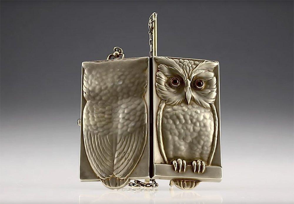 Silver Gilt Minaudiere Owl Purse