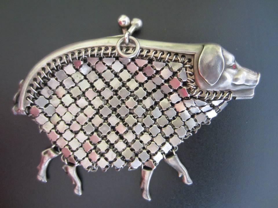 Silver Mesh Pig Purse