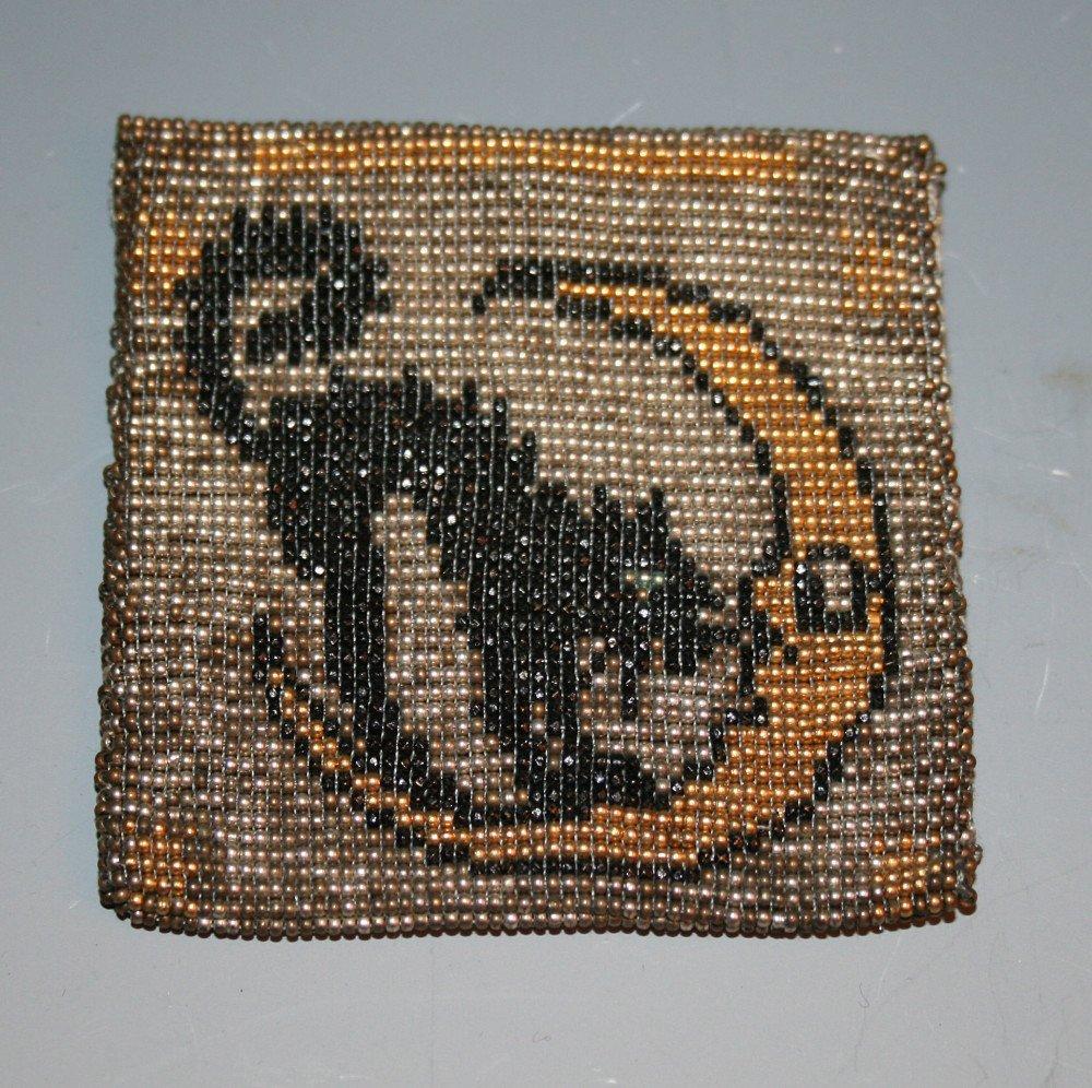 Beaded black cat and moon purse