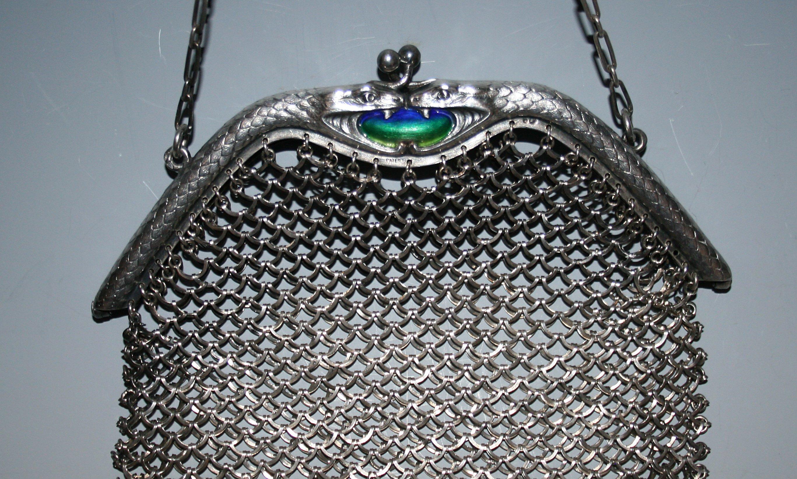 Sterling silver snake purse