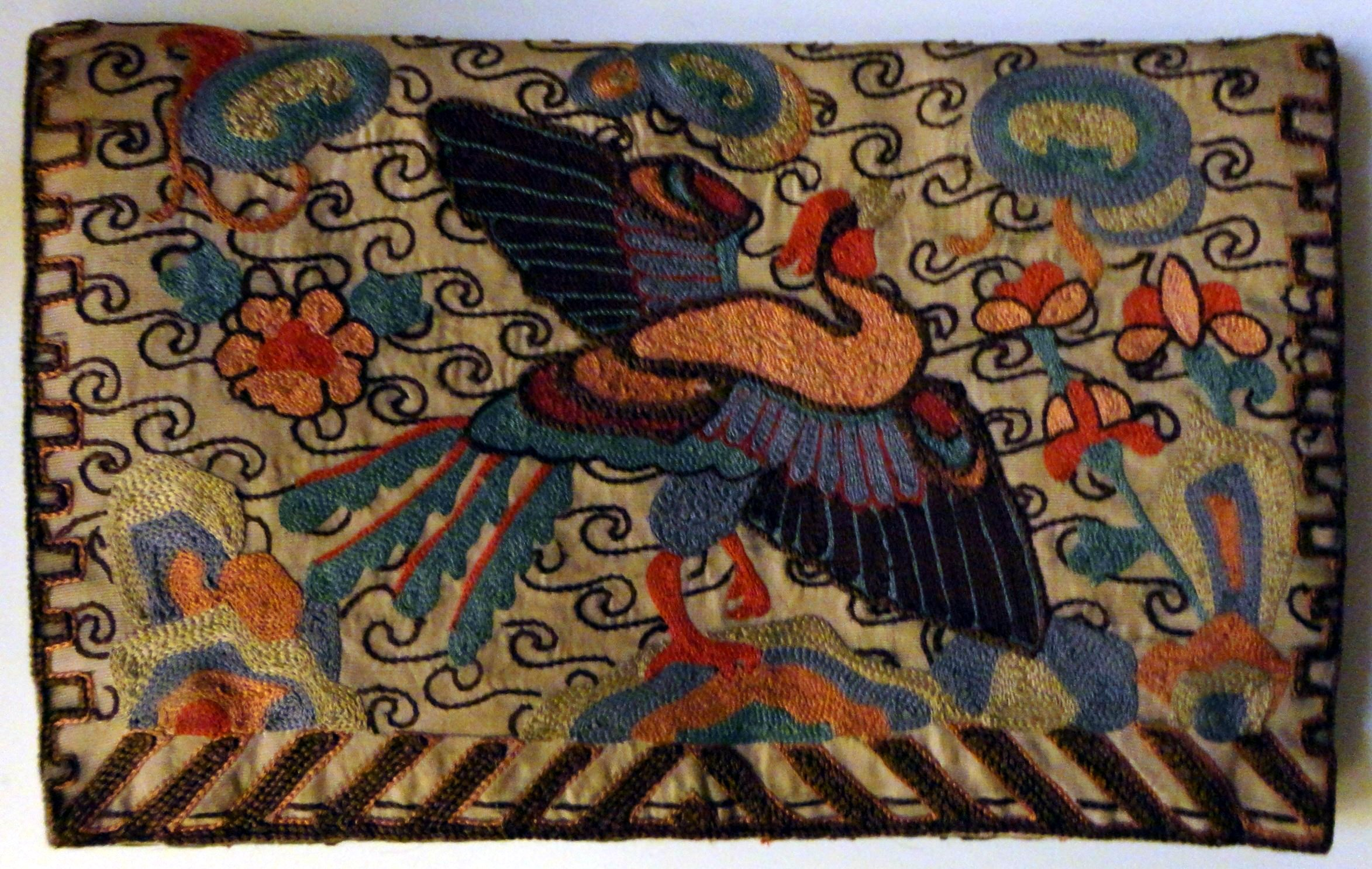 Embroidered Chinese rank badge purse
