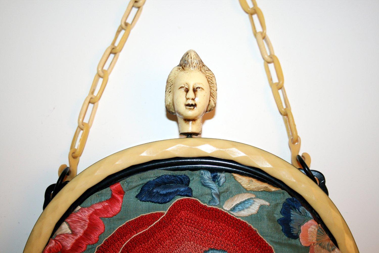 Celluloid Japanese woman purse