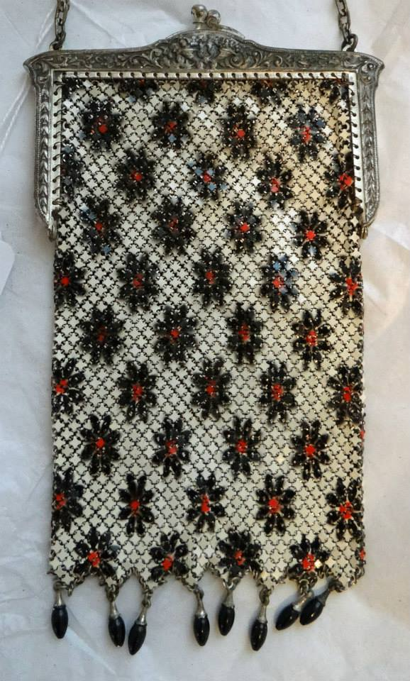 Black, red and white enamel mesh purse