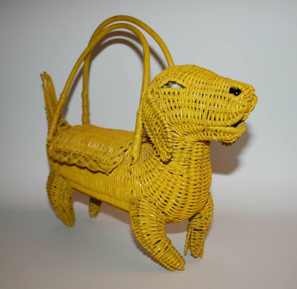 Yellow dachshund purse
