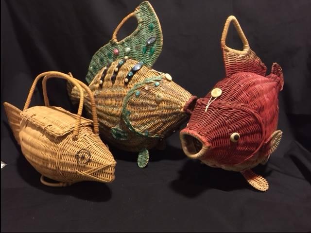 Wicker fish purses