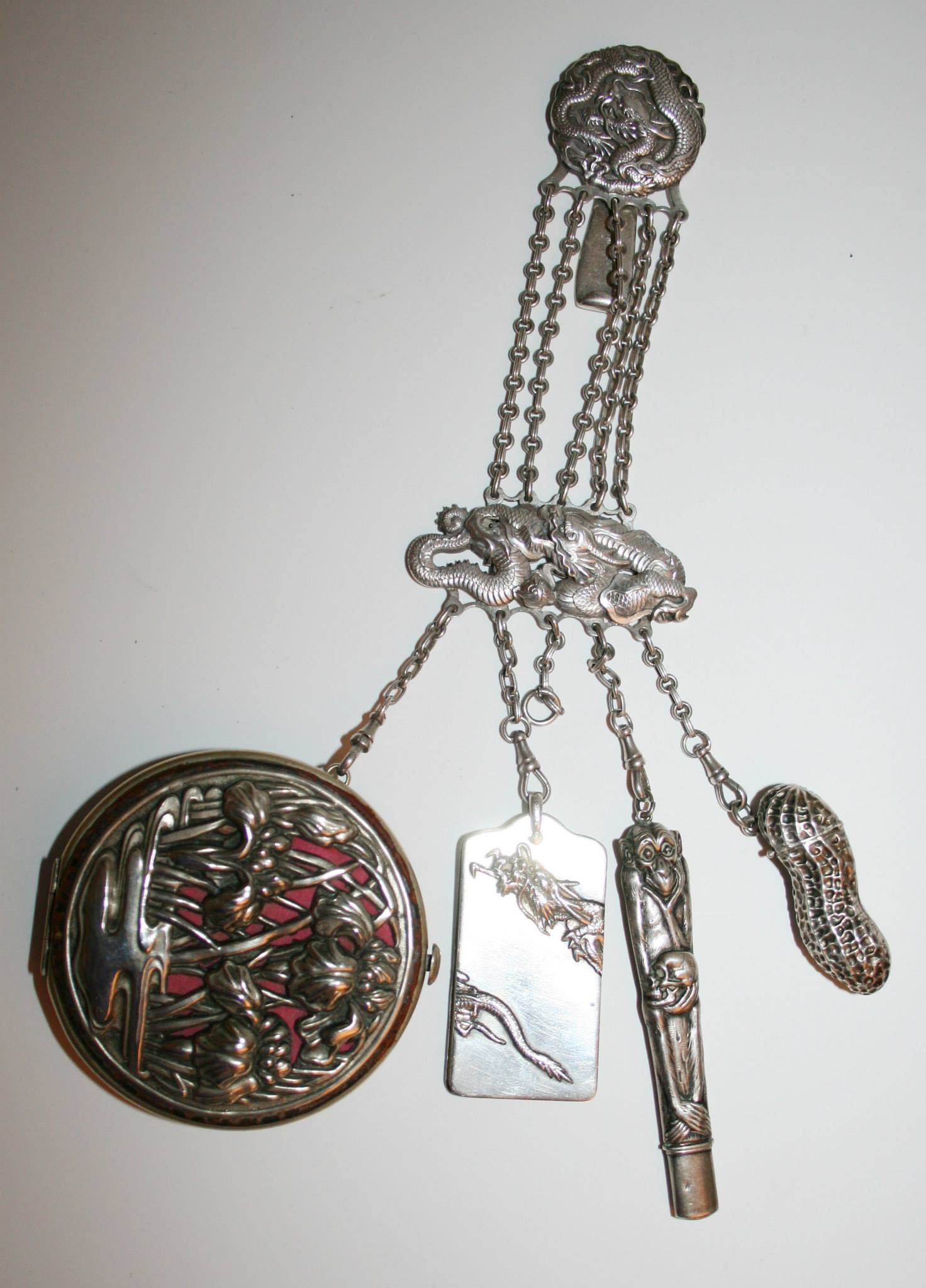 Japonisme sterling silver chatelaine