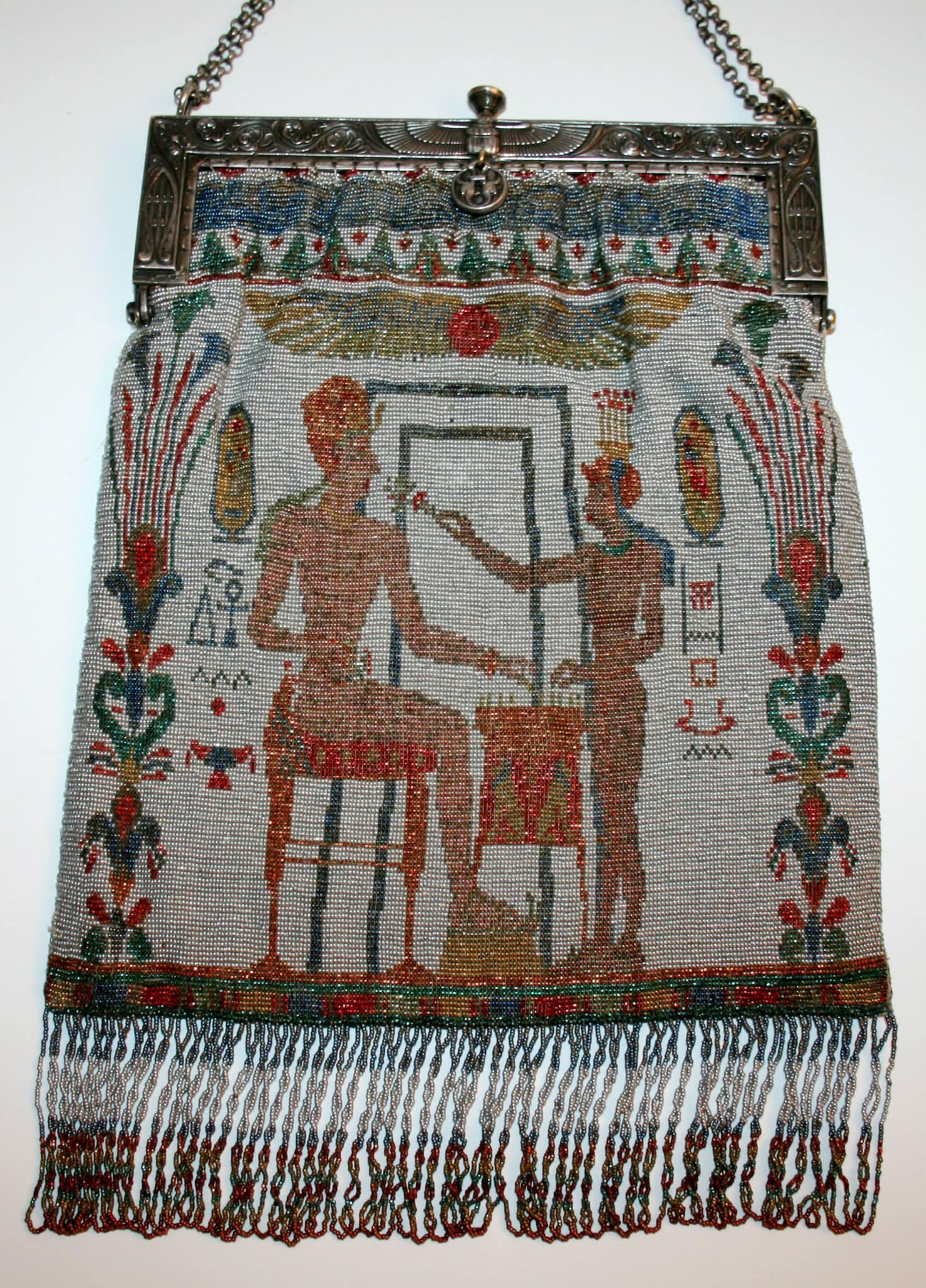 Egyptian Revival beaded purse