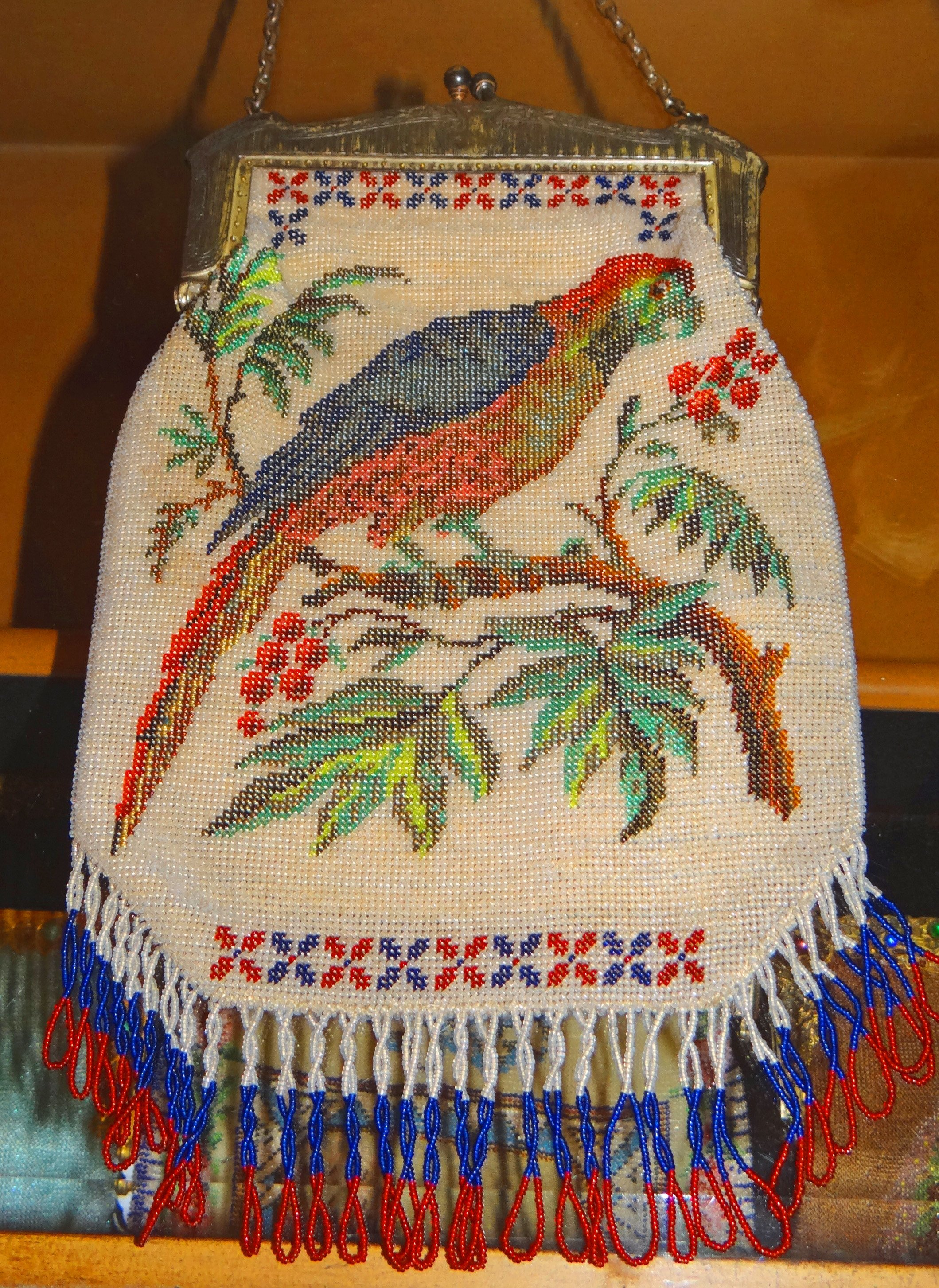 Beaded Parrot Purse