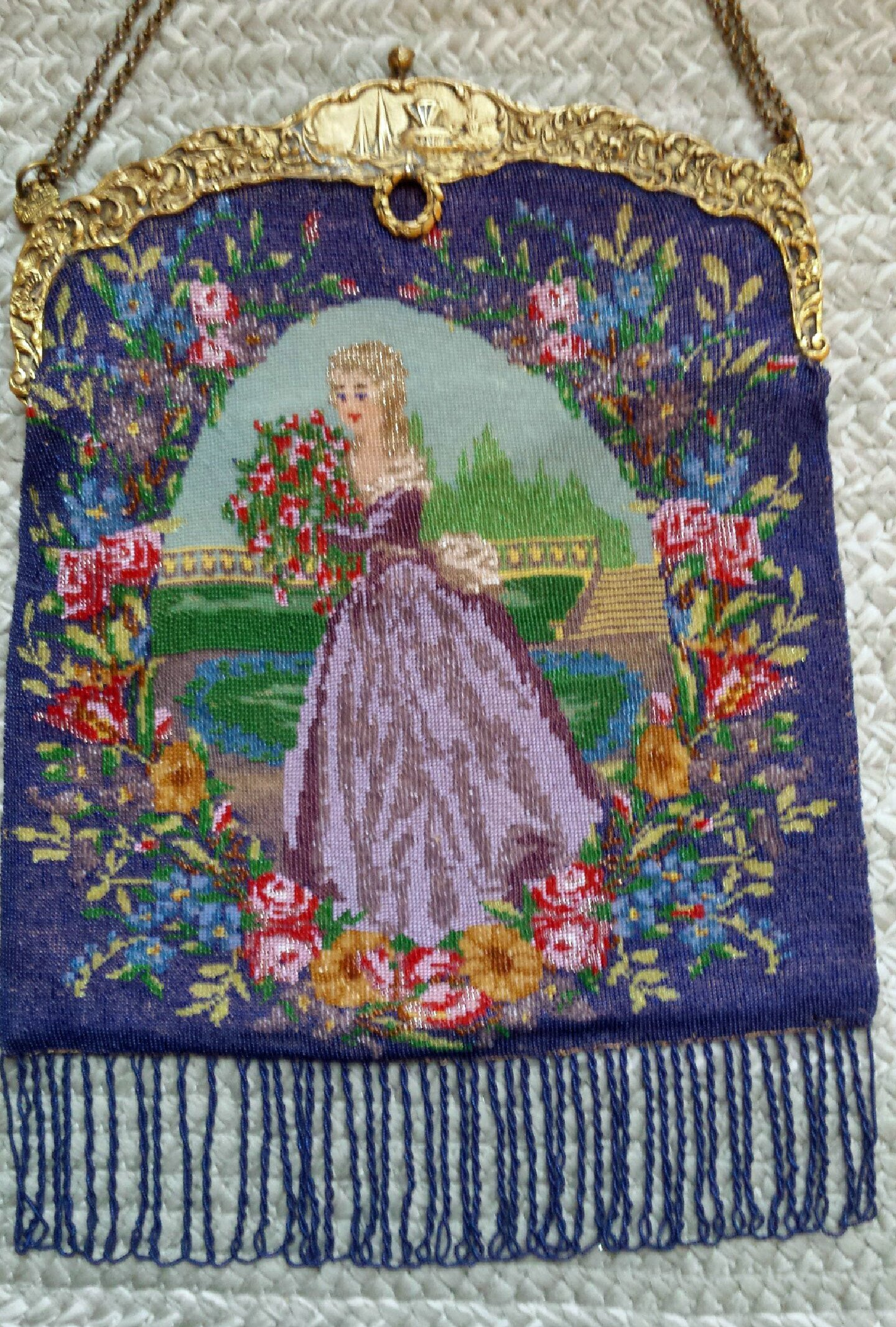 Figural & Floral Micro Beaded Purse