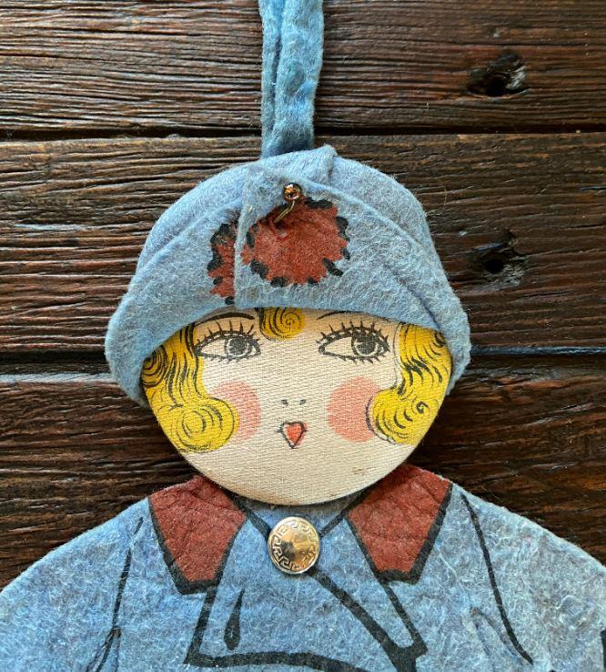 Vintage 1920's Full Body Felt Girl Child's Doll Purse with Happy Christmas Box