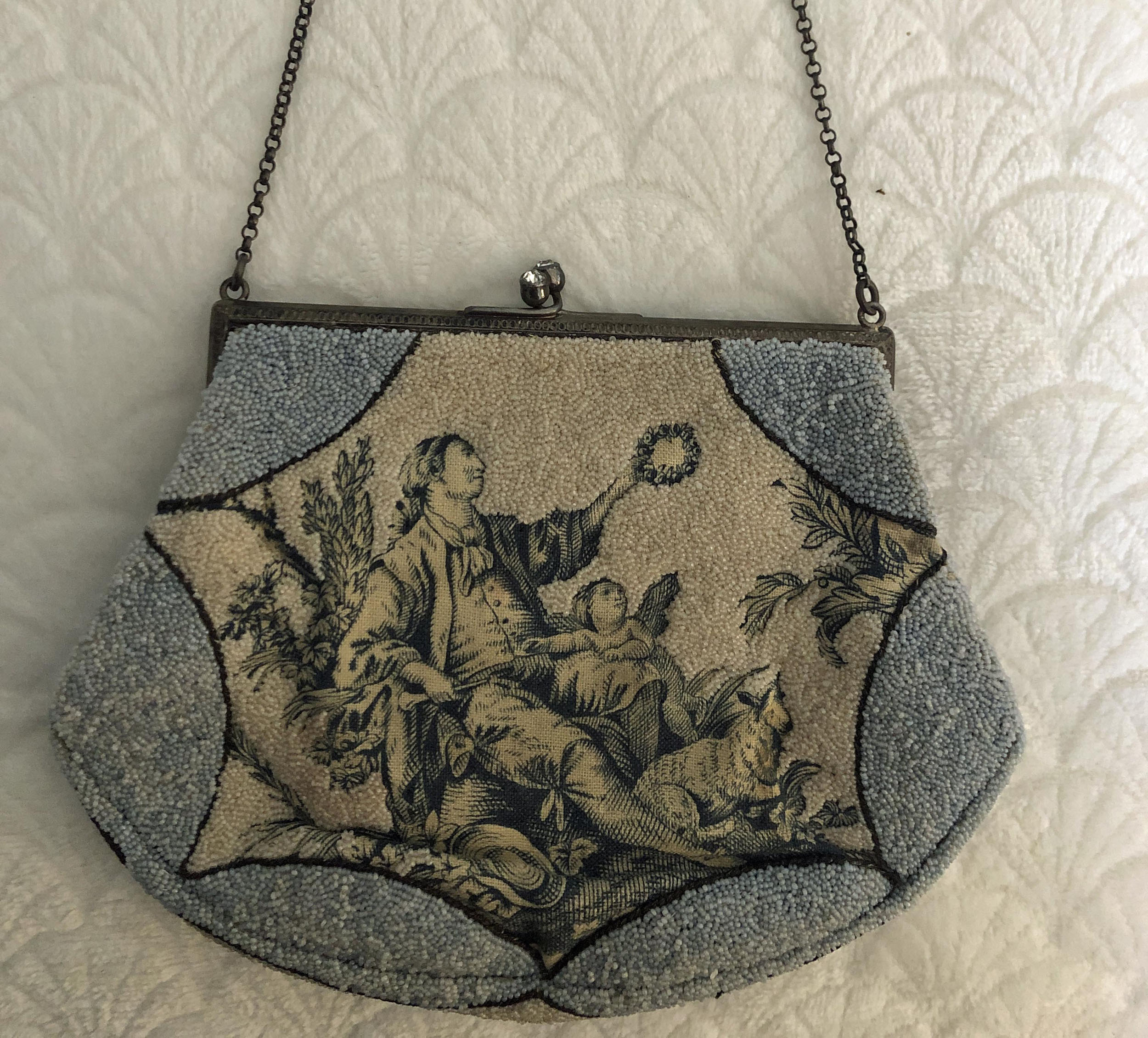 1920's Colonial Print & Beaded Purse