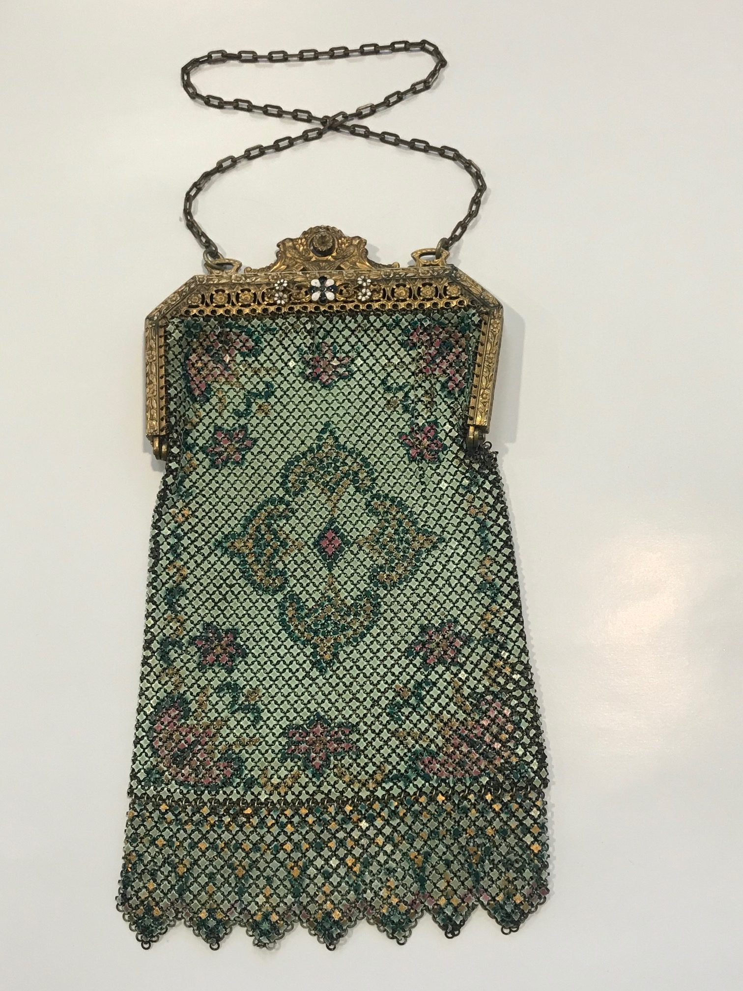 Antique Mandalian Enamel Mesh Purse